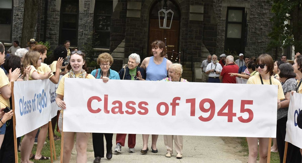 Walking in the reunion parade with the Class of 1945.